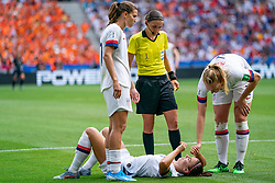 07-07-2019 FRA: Final USA - Netherlands, Lyon<br /> FIFA Women's World Cup France final match between United States of America and Netherlands at Parc Olympique Lyonnais. USA won 2-0 / Tobin Heath #17 of the United States, Alex Morgan #13 of the United States, scheidsrechter Stéphanie Frappart.