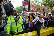 London, UK. Saturday 9th May 2015. Students demonstrate in Westminster the day after the Tory Party were re-elected as a majority government in the general election. The protest was focussed on a number of subjects including spending cuts but generally was a mark of displeasure that the Conservatives regained power.