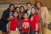 Houston ISD Superintendent Richard Carranza poses for a photograph with Katherine Smith Elementary School students and staff during a stop of the Listen & Learn tour at Black Middle School, September 20, 2016.