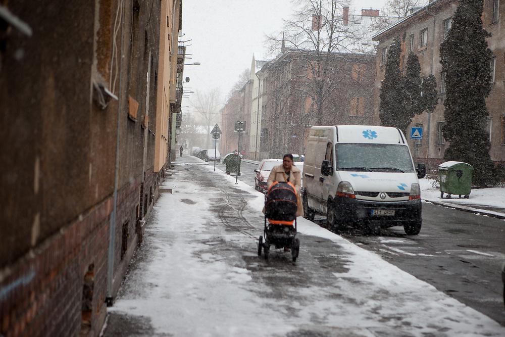 Street scene in the quater where Miroslav Klempar and his family lives in Ostrava.