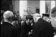 State Funeral Of Mrs Thomas Clarke..1972..08.10.1972..10.08.1972..8th October 1972..Today the state funeral of Mrs Kathleen Clarke took place at the Pro Cathedral,Dublin. Mrs Clarke was the wife of the late Thomas Clarke who was executed in Kilmainham Jail in 1916. Thomas Clarke was a signatory of the Irish Proclamation of 1916...Picture of President DeValera as he offers condolences to the family of Mrs Kathleen Clarke.