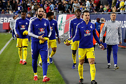 May 15, 2019 - Foxborough, MA, U.S. - FOXBOROUGH, MA - MAY 15: Chelsea FC forward Gonzalo Higua'n (9) and Chelsea FC defender Cesar Azpilicueta (28) walk to the subs bench before the Final Whistle on Hate match between the New England Revolution and Chelsea Football Club on May 15, 2019, at Gillette Stadium in Foxborough, Massachusetts. (Photo by Fred Kfoury III/Icon Sportswire) (Credit Image: © Fred Kfoury Iii/Icon SMI via ZUMA Press)