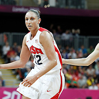 07 August 2012: USA Diana Taurasi drives Canada Lizanne Murphy during 91-48 Team USA victory over Team Canada, during the women's basketball quarter-finals, at the Basketball Arena, in London, Great Britain.