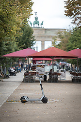 16 September 2021, Berlin, Germany: Scooter, or kickbike, parked at the historical site of Unter den Linden in Berlin.