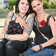Tattoo ladies at Parliament square against vaccine passport on 2021-09-08, London, UK.