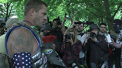 June 4, 2017 - Portland, Oregon, United States - An alt-right guest speaker confronts protesters during a free speech rally at Terry Schrunk Plaza in Portland, Oregon,  on June 4, 2017. (Credit Image: © Emily Molli/NurPhoto via ZUMA Press)