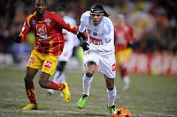 FOOTBALL - FRENCH CUP 2009/2010 - 1/16 FINAL - 10/02/2010 - RC LENS v OLYMPIQUE MARSEILLE - PHOTO JEAN MARIE HERVIO / DPPI - BRANDAO (OM) / SAMBA SOW (RCL)