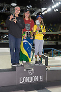 Pamela Rosa from Brazil 1st, Hayley Wilson from Australia 2nd and Jhulia Rayssa Mendez Leal from 3rd during the women's Street League Skateboarding World Tour Event at Queen Elizabeth Olympic Park on 26th May 2019 in London in the United Kingdom.