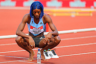 Shaunae MILLER-UIBO of Bahamas after winning the Women's 100m Final during the Muller Grand Prix at Alexander Stadium, Birmingham, United Kingdom on 18 August 2019.