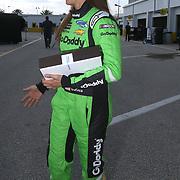 Danica Patrick, driver of the #7 GoDaddy Chevrolet is seen during practice for the 60th Annual NASCAR Daytona 500 auto race at Daytona International Speedway on Friday, February 16, 2018 in Daytona Beach, Florida.  (Alex Menendez via AP)