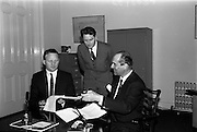 10/05/1965<br /> 05/10/1965<br /> 10 May 1965<br /> (Left to right) Mr. G. C. Crampton, managing director of G. & T. Crampton Ltd., Mr. John Costello, architect, and Mr. A. Kennedy Kirsch, chairman and managing director of M.E.P.C. (Ireland) Ltd.,  sign the contract for the building of the Stillorgan Shopping Centre.