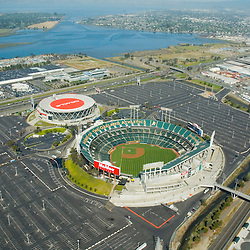 Aerial view of McAfee Field, home of the Oakland Athletics California and Oracle Stadium