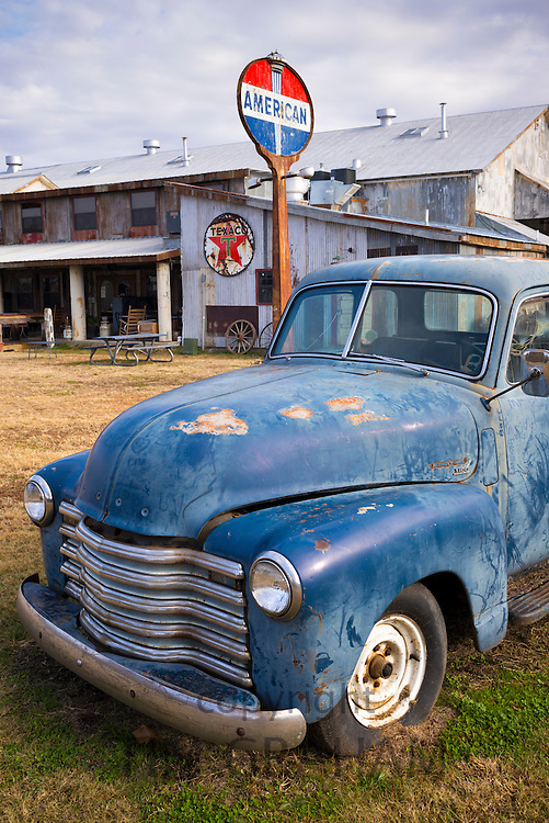 Old Chevrolet 3100 pickup truck by cotton gin at The Shack Up Inn cotton pickers themed hotel, Clarksdale, Mississippi, USA