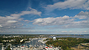 Aerial view of Annapolis Maryland rooftops and sailboats on Spa Creek