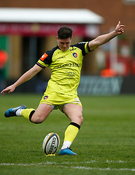 Leicester Tigers' Freddie Burns kicks a penalty during the Anglo-Welsh Cup Final at Twickenham Stoop, London.