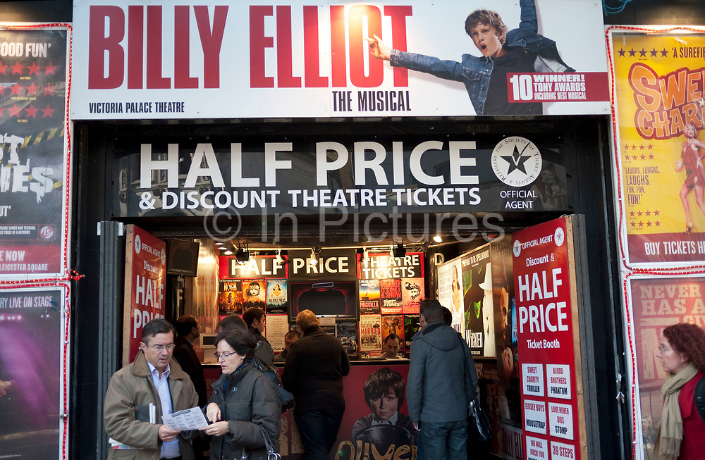 Budget theatre ticket shop in Leicester Square, London. The heart of London's West End and Theatreland. Here punters can buy tickets for plays and musicals at a half price discount.