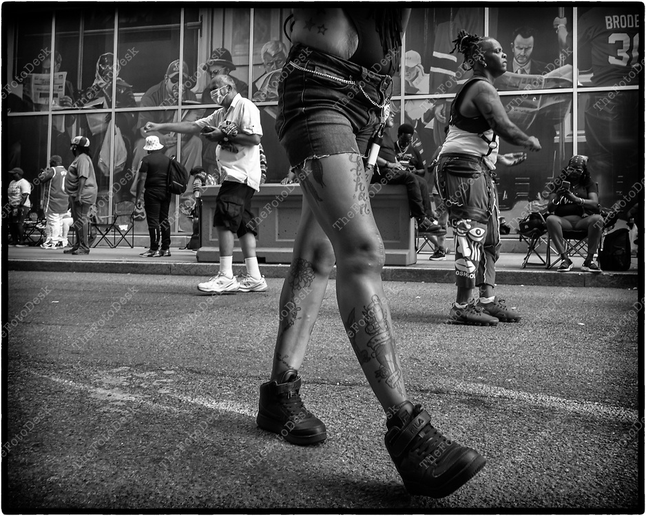 NEWARK, NEW JERSEY: Gi Gi strolls to the beat during  the weekly Block Party on Edison Plaice in Newark, NJ on Friday, August 6, 2021 (Brian B Price/TheFotodesk).