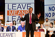 Former UKIP leader Nigel Farage speaking at a 'Brexit:Let's Go WTO Rally' organised by the Leave Means Leave campaign in Westminster, London, UK on January 17, 2019 where leading business and political Brexiteers discussed why WTO rules will allow Great Britain to thrive outside the European Union after Brexit.