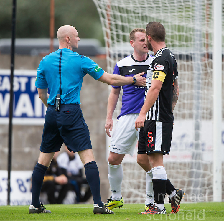 East Fife's Allan Walker and Elgin City's Jamie Duff get booked.<br /> East Fife 2 v 1 Elgin City, Ladbrokes Scottish Football League Division Two game played 22/8/2015 at East Fife's home ground, Bayview Stadium.