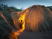 Isaya's home in the evening. At the Hadza camp of Senkele.
