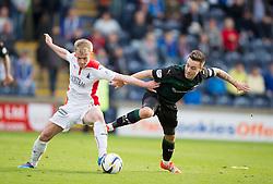Falkirk's Craig Sibbald and Raith Rovers Barry McKeown.<br /> Raith Rovers 0 v 0 Falkirk, Scottish Championship game played 27/9/2014 at Raith Rovers Stark Park.