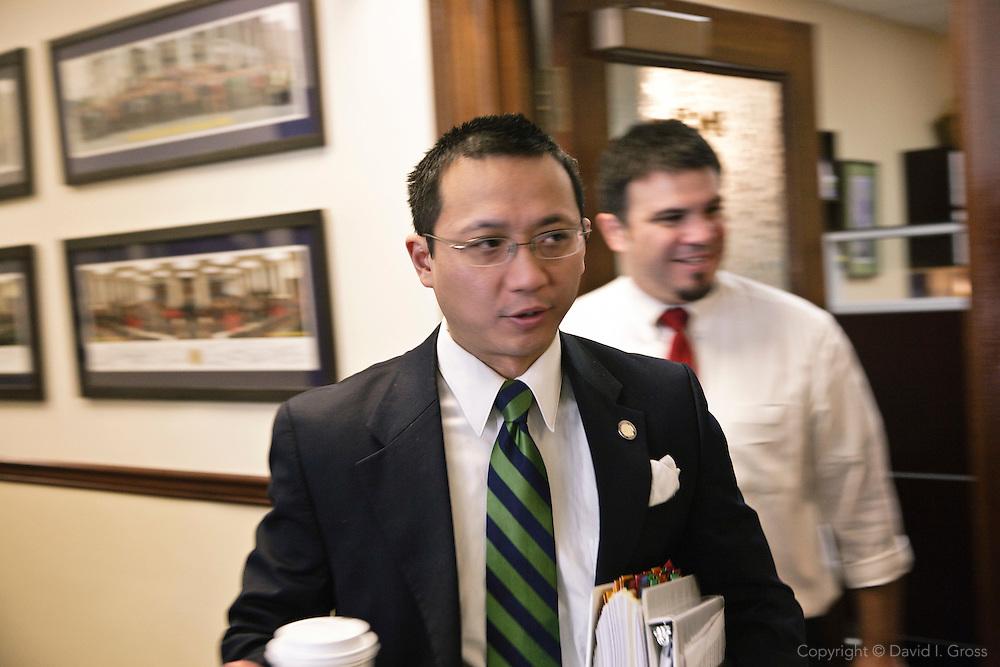 Alaska Rep. Scott Kawasaki (D) heads toward the house chambers.