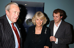 Left to right, BRUCE SHAND, his daughter CAMILLA PARKER BOWLES and her son TOM PARKER BOWLES at a party to celebrate the publication of 'E is for Eating' by Tom Parker Bowles held at Kensington Place, 201 Kensington Church Street, London W8 on 3rd November 2004.<br />