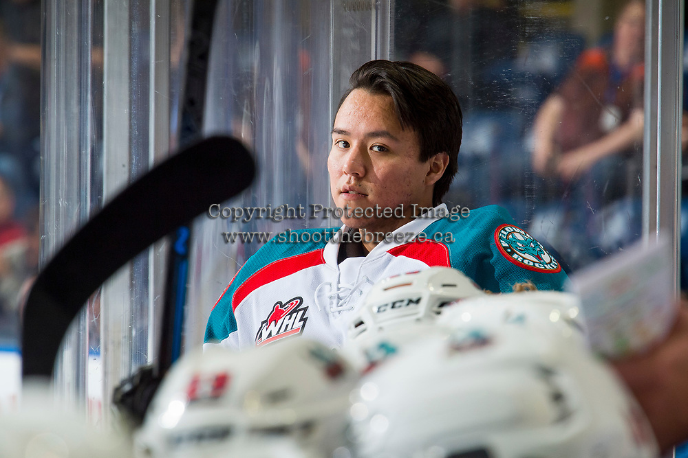 KELOWNA, CANADA - JANUARY 30:  James Porter #1 of the Kelowna Rockets stands on the bench against the Seattle Thunderbirds on January 30, 2019 at Prospera Place in Kelowna, British Columbia, Canada.  (Photo by Marissa Baecker/Shoot the Breeze)