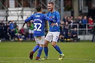 Goal, Ben Thompson of Portsmouth scores, Maidenhead United 0-1 Portsmouth during the The FA Cup 1st round match between Maidenhead United and Portsmouth at York Road, Maidenhead, United Kingdom on 10 November 2018.