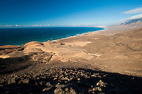 Landscape and Beaches in Jandía Natural Park, in the south of Fuerteventura Island, Canary Islands, Spain.