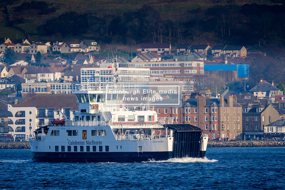 The Calmac ferry 'Loch Shira' making the short crossing from Largs on the Scottish mainland to the island of Great Cumbrae of the west coast of Scotland.  The town of Largs can be seen in the background.<br /> <br /> (c) Andrew Wilson   Edinburgh Elite media