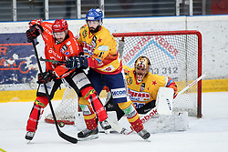 Nate DiCasmirro of Jesenice vs Lorenzo Casetti and  Frederic Cloutier of Asiago during ice hockey match between HDD SIJ Acroni Jesenice and Migross Supermercati Asiago Hockey in 2 game of Semifinal in AHL - Sky Alps Hockey League, on March 22, 2017 in Jesenice, Slovenia. Photo by Matic Klansek Velej / Sportida