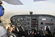 Interior of the cockpit of a Sessna Skyhawk plane