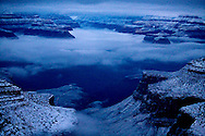 Grand Canyon Blues. A winter storm clearing out of Grand Canyon.