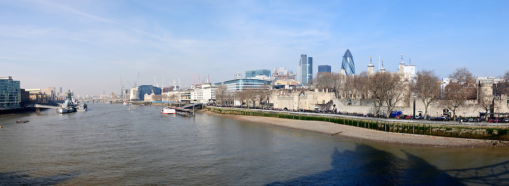 Panorama of London skyline taken from the Tower Bridge