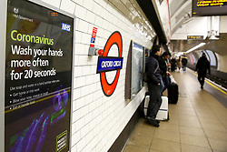 © Licensed to London News Pictures. 15/03/2020. London, UK. A nearly empty platform at Oxford Circus Underground Station on a Sunday afternoon amid an increased number of coronavirus (COVID-19) cases in the UK. 35 coronavirus victims have died and 1,372 cases have tested positive of the virus in the UK. Photo credit: Dinendra Haria/LNP