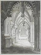 Engraving of Roslyn Chapel, Midlothian, Scotland