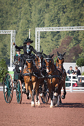 Misdee Wrigley Miller, (USA), Agusstos Armoei, Beau, Carlos, Clemens, Saco - Driving dressage - Alltech FEI World Equestrian Games™ 2014 - Normandy, France.<br /> © Hippo Foto Team - Dirk Caremans<br /> 04/09/14