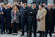 Three days after the killing of Jack Merritt, 25, and Saskia Jones, 23, by the convicted teorrorist Usman Khan at Fishmongers Hall on London Bridge, friends and families of the victims and Prime Minister Boris Johnson, Leader of the Opposition Jeremy Corbyn, London Mayor Sadiq Khan plus City and police officials, hold a vigil at the Guildhall in the City of London, on 2nd December 2019, in London, England.