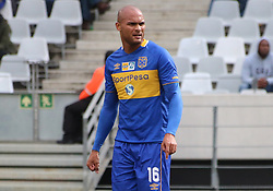 Cape Town City defender Robyn Johannes in action against Polokwane City in an MTN8 quarter-final match at the Cape Town Stadium on August 12, 2017 in Cape Town, South Africa.