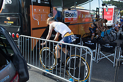 Amalie Dideriksen (DEN) of Boels-Dolmans Cycling Team warms up for the Crescent Vargarda - a 42.5 km team time trial, starting and finishing in Vargarda on August 11, 2017, in Vastra Gotaland, Sweden. (Photo by Balint Hamvas/Velofocus.com)