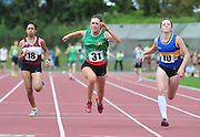 Mairead Sayeh, , Westmeath , Marie Heelan from Limerick winner and Lorraine O Shea from Tipperary in the Girls U16 100m  at the  HSE Community Games National Finals 2010 in the AIT in Athlone. Photo:Andrew Downes