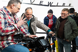 Harley-Davidson Livewire demo area in their booth at Motor Bike Expo (MBE) bike show. Verona, Italy. Friday, January 17, 2020. Photography ©2020 Michael Lichter.