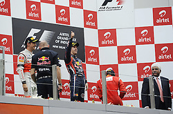 30.10.2011, Jaypee-Circuit, Noida, IND, F1, Grosser Preis von Indien, Noida, im Bild Podium - Jenson Button (GBR),  McLaren F1 Team  - Sebastian Vettel (GER), Red Bull Racing - Fernando Alonso (ESP),  Scuderia Ferrari // during the Formula One Championships 2011 Large price of India held at the Jaypee-Circui 2011-10-30. EXPA Pictures © 2011, PhotoCredit: EXPA/ nph/ Dieter Mathis +++++ ATTENTION - OUT OF GERMANY/(GER), CROATIA/(CRO), BELGIAN/(BEL) +++++