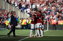 West Ham United's Andriy Yarmolenko celebrates his side's second goal of the game with his team-mates during the Premier League match at London Stadium.