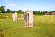 Standing stones in south west quadrant neolithic stone circle henge prehistoric monument, Avebury, Wiltshire, England UK