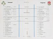 Irish Rugby Football Union, Ireland v England, Five Nations, Landsdowne Road, Dublin, Ireland, Saturday 11th February, 1961,.11.2.1961, 2.11.1961,..Referee- G J Treharne, Welsh Rugby Union, ..Score- Ireland 11 - 8 England, ..Irish Team, ..T J Kiernan,  Wearing number 15 Irish jersey, Full Back, University college Cork Football Club, Cork, Ireland,  ..R J McCarten, Wearing number 14 Irish jersey, Right Wing, London Irish Rugby Football Club, Surrey, England,..D Hewitt, Wearing number 13 Irish jersey, Right centre, Queens University Rugby Football Club, Belfast, Northern Ireland,..J C Walsh,  Wearing number 12 Irish jersey, Left Centre, University college Cork Football Club, Cork, Ireland,..A J F O'Reilly, Wearing number 11 Irish jersey, Left Wing, Dolphin Rugby Football Club, Cork, Ireland, ..W K Armstrong, Wearing number 10 Irish jersey, Stanf Off, N.I.F.C, Rugby Football Club, Belfast, Northern Ireland, ..J M Moffett, Wearing number 9 Irish jersey, Scrum Half, Ballymena Rugby Football Club, Antrim, Northern Ireland,..B G Wood, Wearing number 1 Irish jersey, Forward, Landsdowne Rugby Football Club, Dublin, Ireland,..A R Dawson, Wearing number 2 Irish jersey, Captain of the Irish team, Forward, Wanderers Rugby Football Club, Dublin, Ireland, ..S Millar, Wearing number 3 Irish jersey, Forward, Ballymena Rugby Football Club, Antrim, Northern Ireland,..W A Mulcahy, Wearing number 4 Irish jersey, Forward, University College Dublin Rugby Football Club, Dublin, Ireland, ..M G Culliton, Wearing number 5 Irish jersey, Forward, Wanderers Rugby Football Club, Dublin, Ireland, ..J R Kavanagh, Wearing number 6 Irish jersey, Forward, Wanderers Rugby Football Club, Dublin, Ireland, ..P J A O' Sullivan, Wearing  Number 8 Irish jersey, Forward, Galwegians Rugby Football Club, Galway, Ireland,..N A Murphy, Wearing number 7 Irish jersey, Forward, Garryowen Rugby Football Club, Limerick, Ireland, ..English Team, ..J G Willcox, Wearing number 15 English jersey, Full Back, Oxford Univers