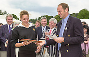Henley on Thames, United kingdom,   Project Oarsome presentation,  Sir Steve REDGRAVE, presents a framed certificate to Francesca JUS-BURKEat the Annual 2002 Henley Royal Regatta, Henley Reach, River Thames, England, [Mandatory Credit: Peter Spurrier/Intersport Images] 05/07/2002 - Sat 20020703 Henley Royal Regatta, Henley, Great Britain