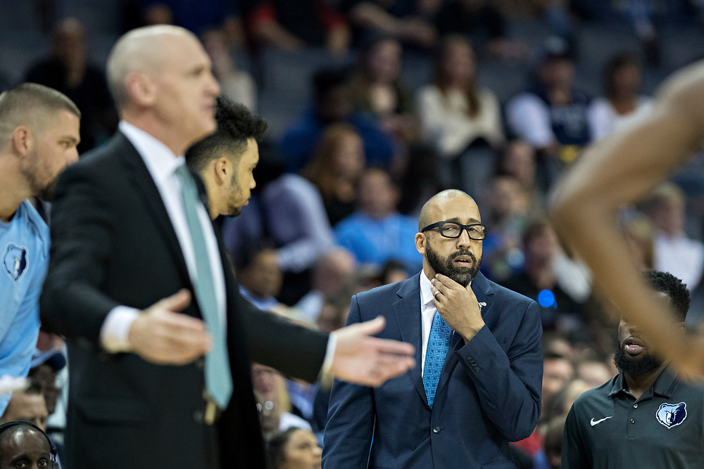 MEMPHIS, TN - OCTOBER 26:  Head Coach David Fizdale of the Memphis Grizzlies on the bench during a game against the Dallas Mavericks at the FedEx Forum on October 26, 2017 in Memphis, Tennessee.  NOTE TO USER: User expressly acknowledges and agrees that, by downloading and or using this photograph, User is consenting to the terms and conditions of the Getty Images License Agreement.  The Grizzlies defeated the Mavericks 96-91.  (Photo by Wesley Hitt/Getty Images) *** Local Caption *** David Fizdale
