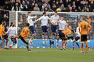 Wolverhampton Wanderers midfielder Nathan Byrne hits a free kick over the wall and bar during the Sky Bet Championship match between Wolverhampton Wanderers and Preston North End at Molineux, Wolverhampton, England on 13 February 2016. Photo by Alan Franklin.
